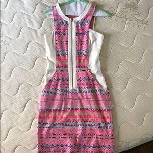 Ella Moss Paz Aztec pink sheath zipper dress, xs